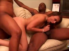 Blindfolded hottie enjoys three big black cocks