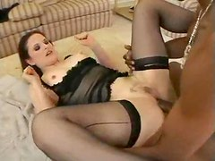 Wet white pussy on lingerie hottie takes BBC