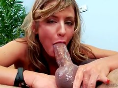 Tiny titted blonde shoves cock deep down her throat
