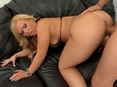 Big ass blonde in shiny bikini hardcore scene