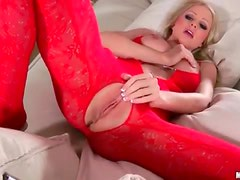 Busty blonde milf in sexy red bodysuit getting sexy