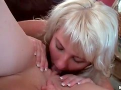 Blonde hotties enjoy licking pussy and fucking cock