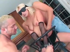 Two cocks face fuck a slutty blonde