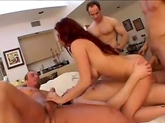 Gangbang for all three of her holes
