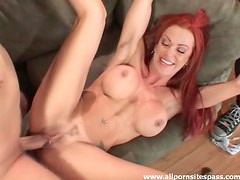 Redhead milf swallows cock in front of hubby