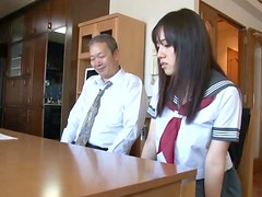 Old Man Toys a Very Busty Japanese School Girl's Hairy Pussy