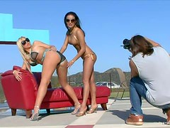 Busty Sluts Abbey Brooks and Maya Gates Share A Cock Outdoors