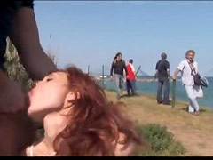 Redheaded Cutie Gets Fucked In Public After Getting Femdomized