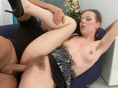 Rachel Dark  Wastes No Time In Getting Her Hairy pussy Pleased With A Big Cock