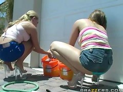 Car Washing Honeys Have A Threesome With A Hard Dick