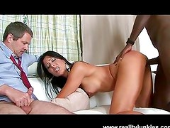 Husband watches wife get fucked hard