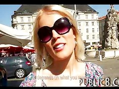 Blonde amateur picked up and fucked in public