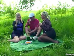Pissing and Fucking Two Hot Blondes Outdoors At the Park