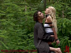 Mesmerizing Blonde Rides A Hard Cock In Public In BDSM Scene