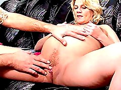 Blonde Prego Gets Her Pink Shaved Pussy Played With