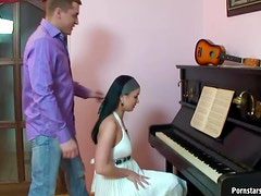Piano Player Ally Style Gets Interrupted By Her Boyfriend With A Hardcore Fuck