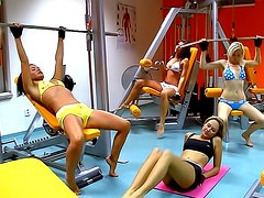 Caprice gets worked while the girlfriends watch