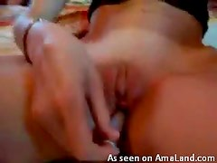 Sweet blonde slut getting off on a sex toys like crazy