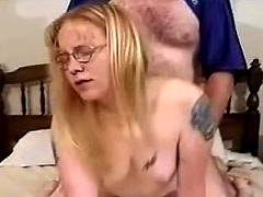 Fat guy has fun in her pussy