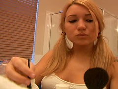 Sexy Blonde Teen Corri Putting On Make Up