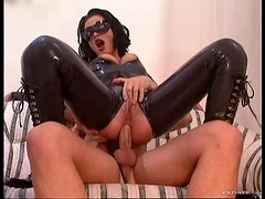 Latex Wearing Slut Submits A Guy Into Femdom