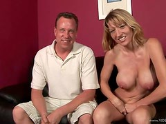 Blonde milf With Big Tits  Rides A Hard Cock Until She's Covered With Cum