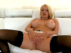 Busty Beauty Krissy Lynn Rubbing Her Clit and Toying Her Pussy