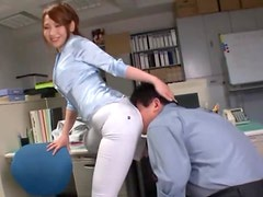 Asian Babe Breaks Her Pants with Her Big Ass and Hooks Up with Colleague