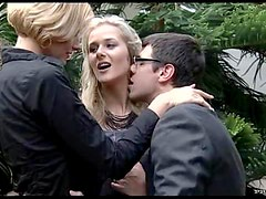 Blondes Getting Double Penetrated By Cock and Dildo In FFM Threesome
