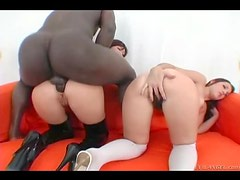 Naughty bitches go big black cock anal