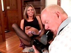 Old guy worships her feet in stockings