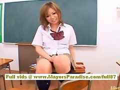 Japanese model in school uniform gets a ride on hard cock