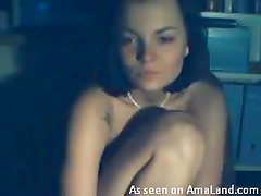 Horny Brunette Fingers Her Pussy While Showing Her Tits