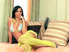 Black Angelica Wears Sexy Stockings And A Bikini Before Playing With A Sex Toy