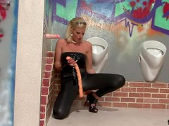 Blonde Gets Messy Toying and Sucking a Gloryhole Cock
