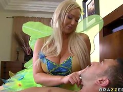 Big Breasted Blonde Fairy Abbey Brooks Titty Fucks a Big Dick For Cum