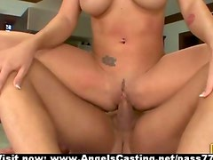 Sexy blonde riding and sucking cock and receiving cumshot an face