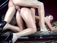 Retro dressed girl anal sex scene