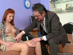 Sexy Redhead Teen Getting Fucked by an Older Man's Cock