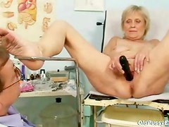 Aged mature Brigita having wet labia exam from experienced gyno Doctor
