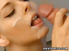 Hot blonde amateur girlfriend suck and fuck with facial