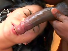 Tantalizing Veronica Jett is riding on huge and black meat stick