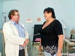 Big tit elder lady gyn clinic exam