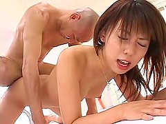Hairy Asian gets her holes screwed by two