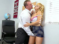 Blonde schoolgirl giving head