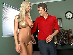 Busty blondie blackmailed into giving head