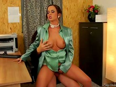 Cindy Dollar Gets Fucked and Pissed In The Office In Fully-Clothed Sex