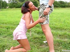 Lovely Brunette Gets Her Pink Shaved Pussy Pounded Outdoors
