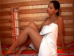 Hungarian hottie Eve Angel masturbating in sauna