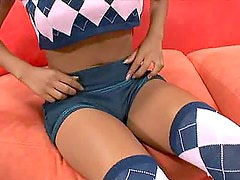 Tan asian teen slutty, in stockings, gets it